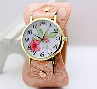 243 роз - Наручные кварцевые женские часы с розовым ремешком