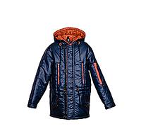 Детская демисезонная удлиненная куртка на подростка, синяя, р.36-44