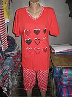 Пижамы футболка и капри Батал ASMA Сердечки