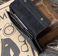 """Портмоне гаманець клатч шкіряний кошелек """"Тrio"""" ручної роботи, натуральна шкіра, на кнопці"""