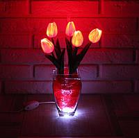 """Светодиодные цветы в вазе """"Красные тюльпаны"""". Букет из 5 цветков"""