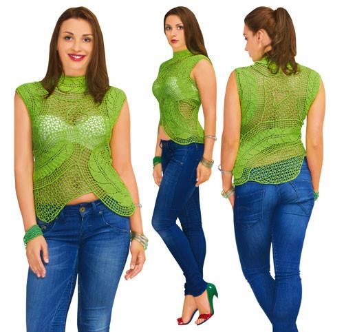 Блуза зеленая из соединенных сеткой  плотных мотивов