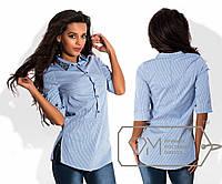 Рубашка-туника женская в тонкую полоску