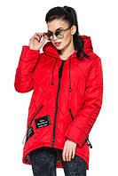 Женская деми - куртка модного фасона, красный, р.44 - 54