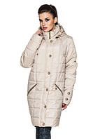 Удлиненная женская демисезонная куртка, бежевый, р.52-58