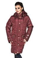 Удлиненная женская демисезонная куртка, бордовый, р.52-58