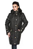Удлиненная женская демисезонная куртка, черный, р.52-58
