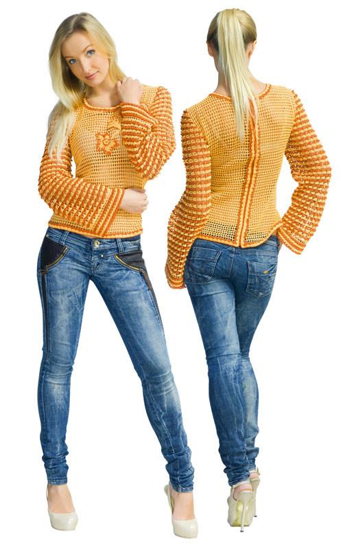 Кофта оранжево-коричнева з надвязками на рукавах