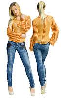 Кофта оранжево-коричневая с надвязками на рукавах