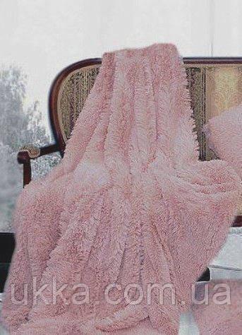 Покрывало меховое с большим ворсом Пепельно-розовый 220х240