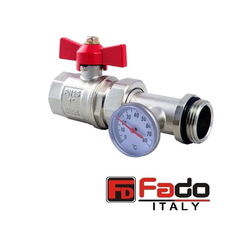 """Кран шаровый 1"""" с термометром прямой PN25 FADO Италия"""