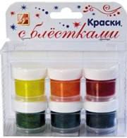 """Краски """"Луч"""" с блестками 6цветов*15мл 1443-08"""