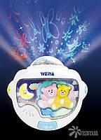 """Ночной светильник с проектором Weina """"Двойняшки Тедди"""" (2129)"""