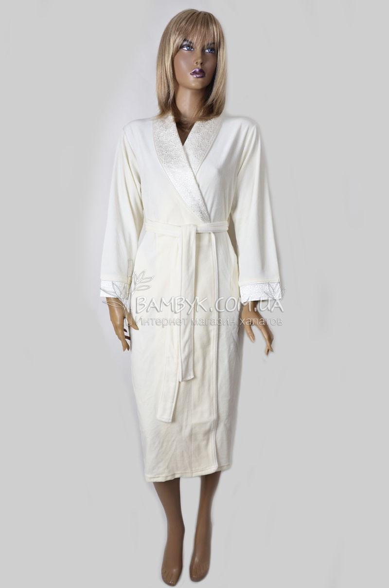 Длинный велюровый халат женский Nusa (крем) №0307