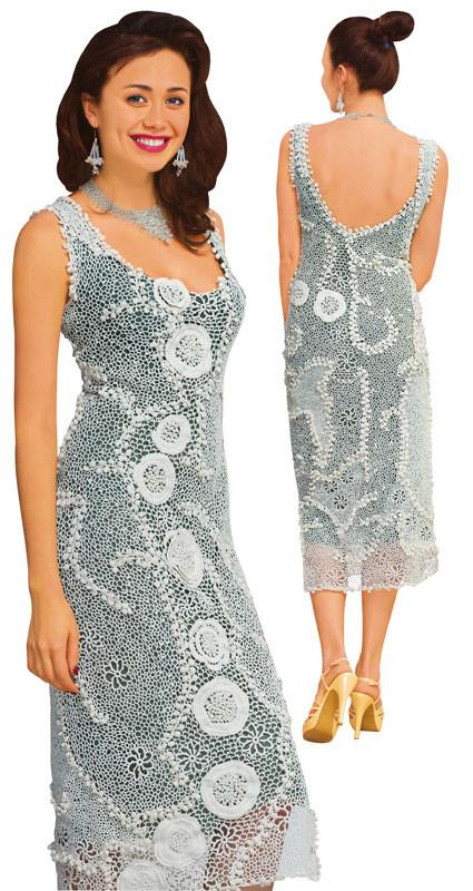 Платье белое из соединенных сеткой  плотных мотивов