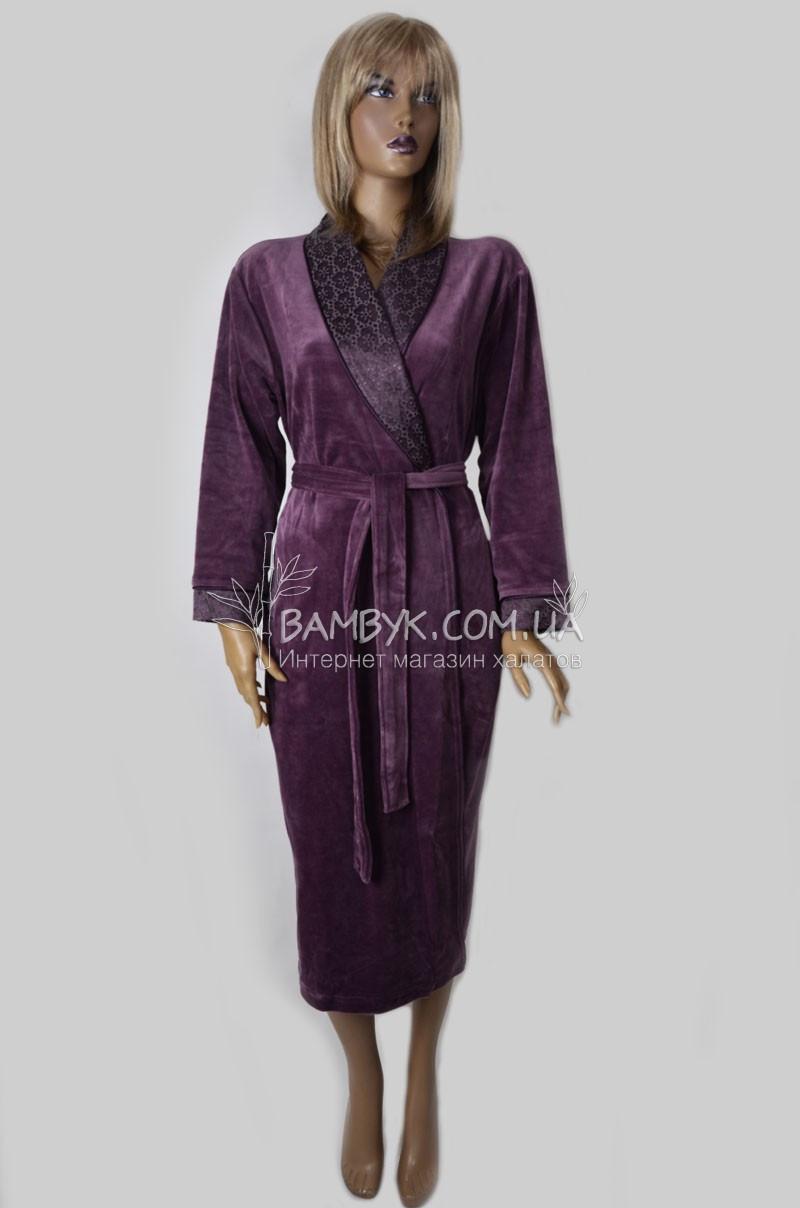 Длинный велюровый халат женский Nusa (сливовый) №0307