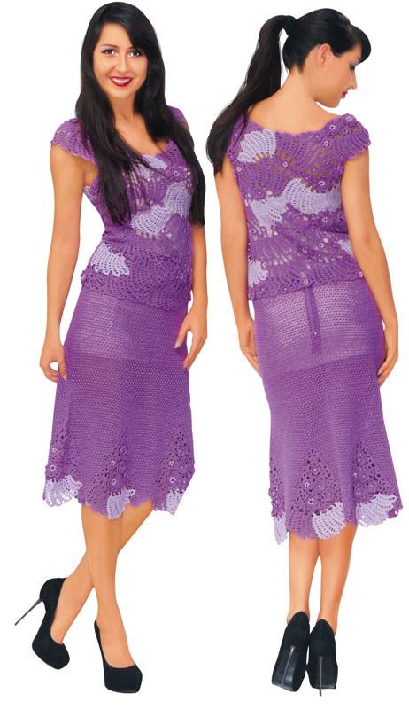 Костюм (сетчатая юбка и топ) из соединенных мотивов (лиф и вставки на юбке)