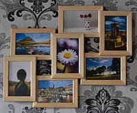 Рамка на стену на 7 фотографий, цвет дерево.