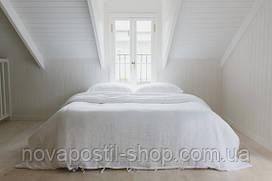 Комплект белого льняного постельного белья полуторный