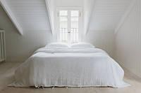 Евро комплект белого льняного постельного белья