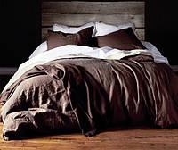 Евро комплект льняного постельного белья Brown