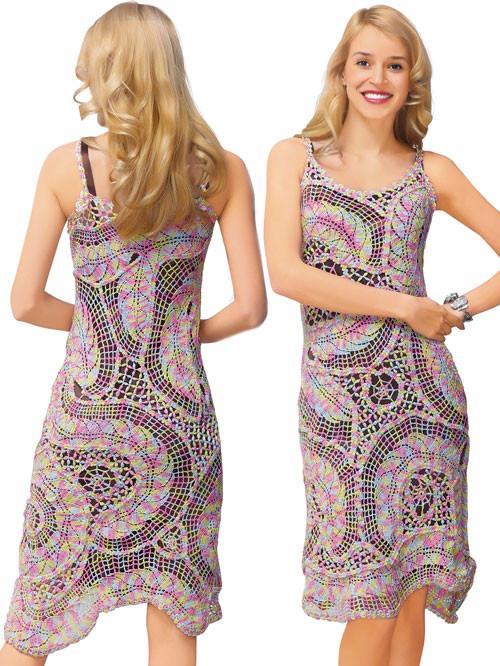 Платье меланж из соединенных сеткой  плотных листьев