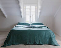 Комплект льняного постельного белья семейный Бирюза