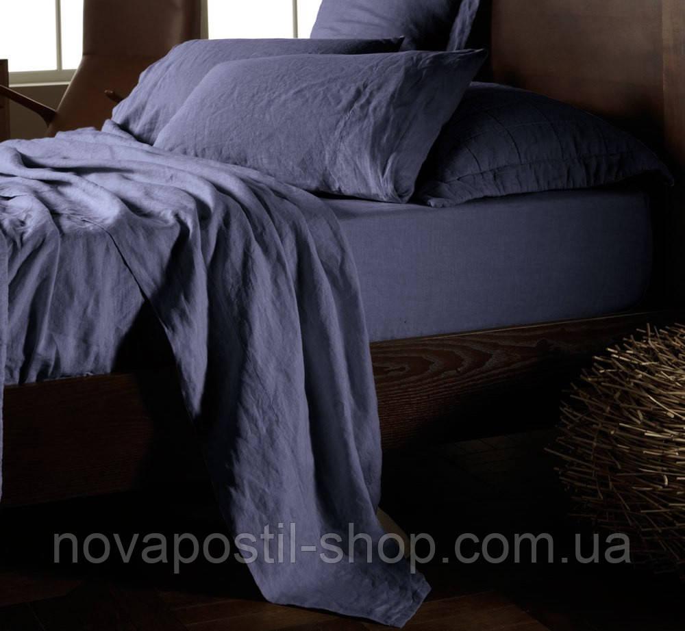 Двуспальный комплект льняного постельного белья Синий