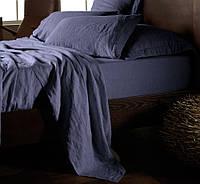 Евро комплект льняного постельного белья Синий