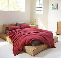 Евро комплект льняного постельного белья Бордо
