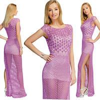 Платье сиреневое сетчатое с лифом, вышитым бисером