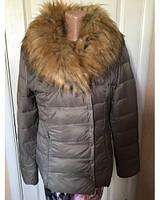 Куртка  пуховик  VERA PLUMA капучино,коричневый,черный с меховым воротником