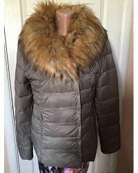 Женская куртка -  пуховик  VERA PLUMA капучино,коричневый,черный с меховым воротником