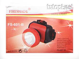 Налобный фонарик Fireshade FS-601, 1 LED 3 R6/AA Батарейки, 1 режим освещения, крепление на голову
