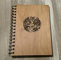 Деревянный блокнот ЦВЕТОЧНЫЙ КРУГ тонированный, фото 1