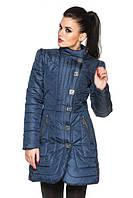 Удлиненная женская стеганная куртка, синий, р.42-48