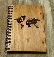 Деревянный блокнот КАРТА МИРА тонированный