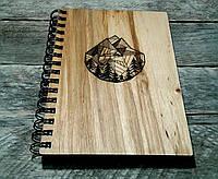 Деревянный блокнот ГОРЫ 2 тонированный, фото 1
