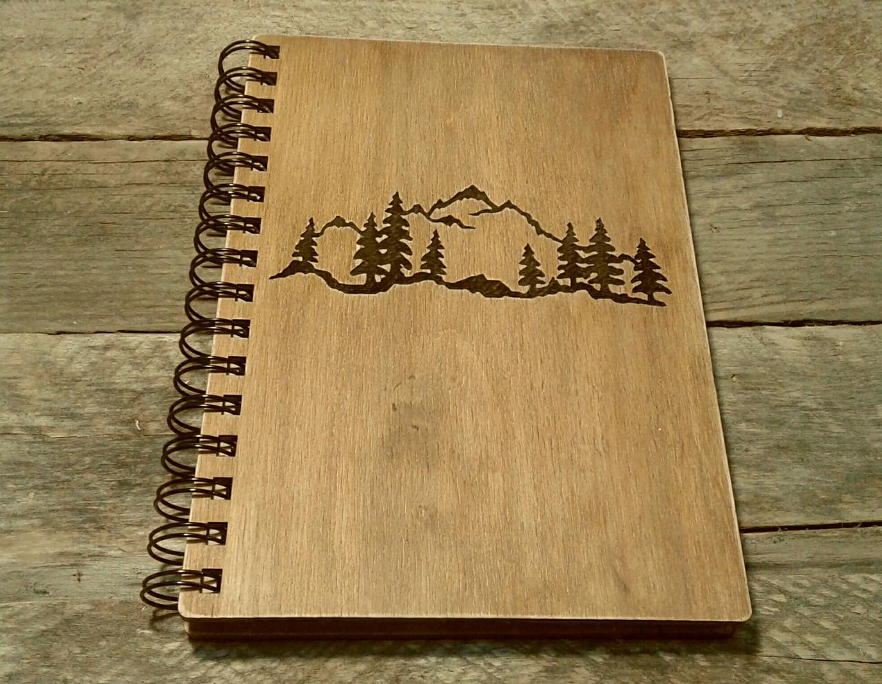 Деревянный блокнот ГОРЫ 3 тонированный