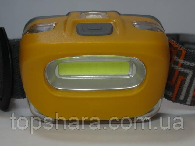 Фонарик налобный WD232 - 128 COB, головной фонарь, очень яркий