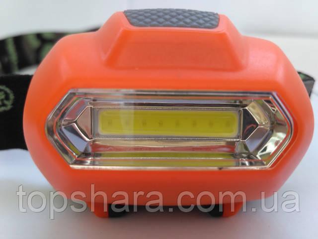 Головной фонарик Bailong BL-2088 COB оранжевый Оригинал!