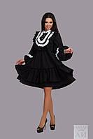 Платье женское свободного кроя , ц.черное с белым кружевом и белое т.евро поплин аи №151