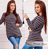 Зимний шерстяной свитер в полоску