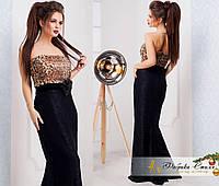 Вечернее платье в пол с леопардовым принтом