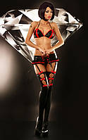 Сексуальный комплект Lolitta Flame of Love set S/M бюстгальтер, пояс с подвязками для чулок, чулки и стринги