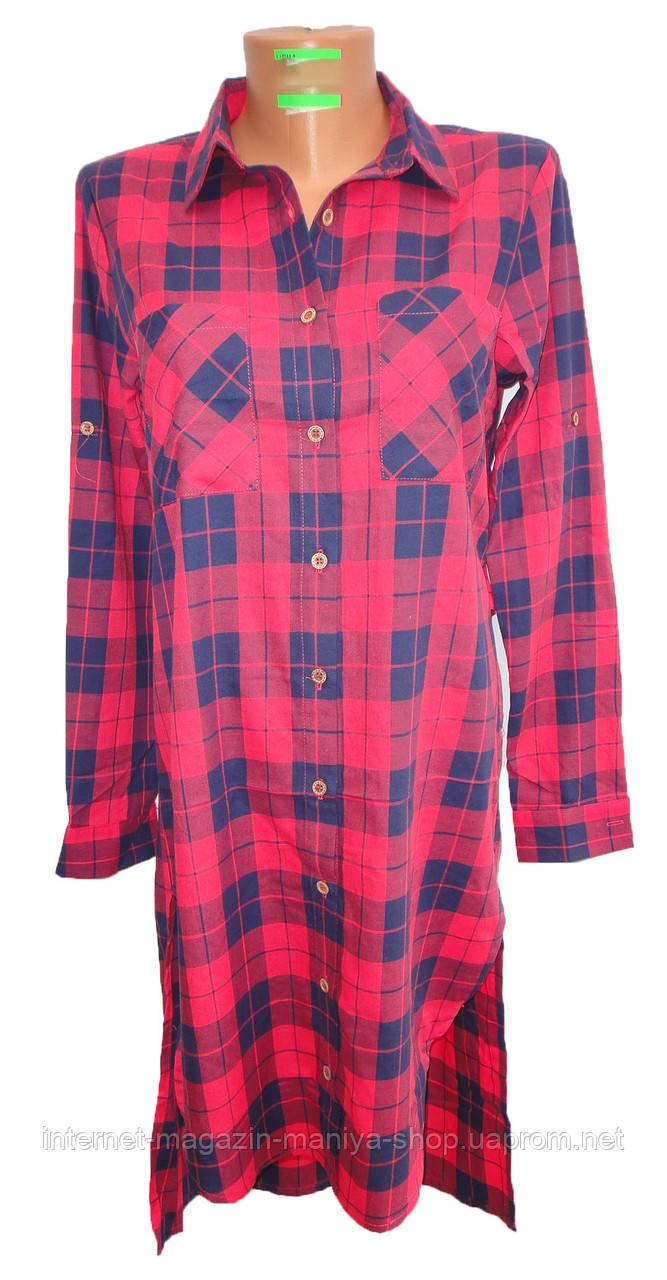 Платье-рубашка женское 96008 клетка трансформер полу батал (деми)