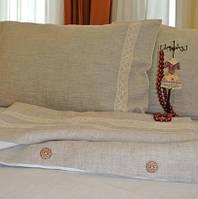 Постельное белье для малышей в кроватку из небеленого льна