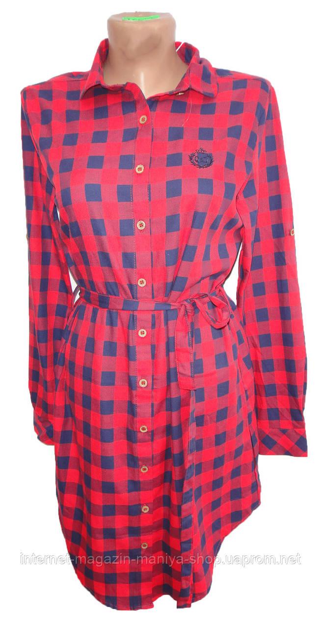 Платье-рубашка женское 96006 клетка с поясом трансформер полу батал (деми)