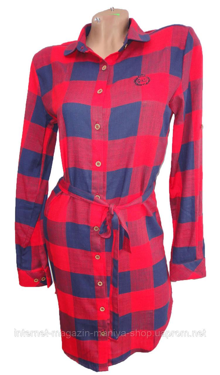 Платье-рубашка женское 96013 клетка с поясом трансформер полу батал (деми)