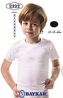 Детское белье для мальчиков из Турции оптом. Черная футболка для мальчика TM Baykar р.6 (158-164см)
